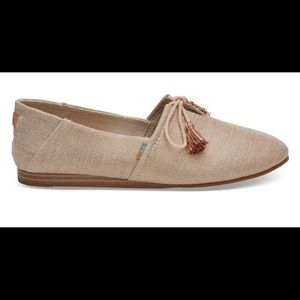 TOMS Rose Gold Metallic Woven Women's Kelli Flats